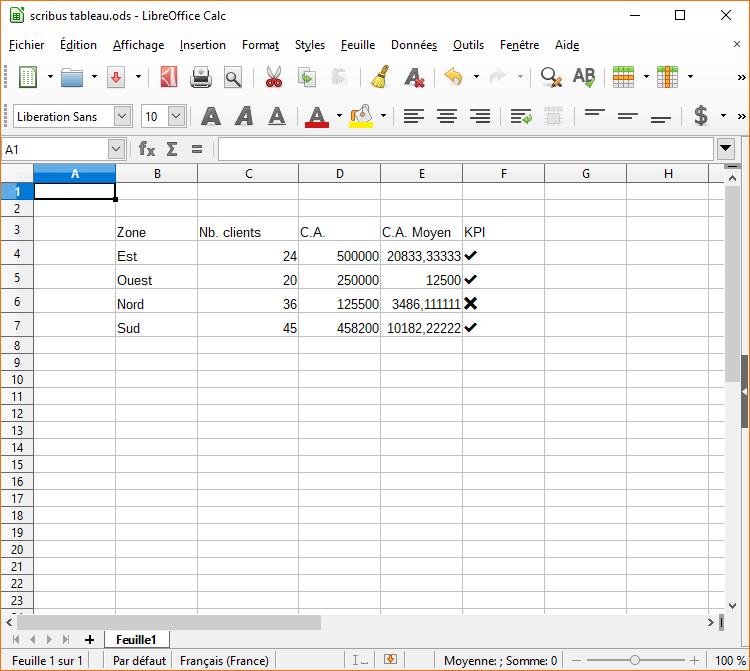 Tableau sous LibreOffice Calc